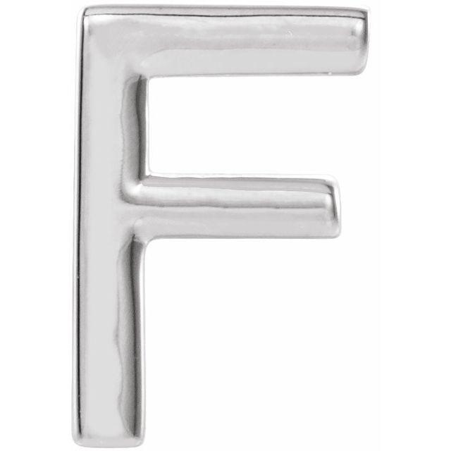 Sterling Silver Single Initial F Earring