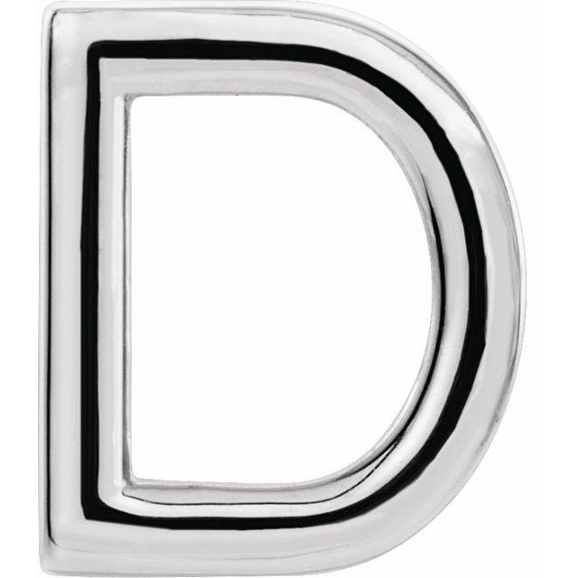 Sterling Silver Single Initial D Earring