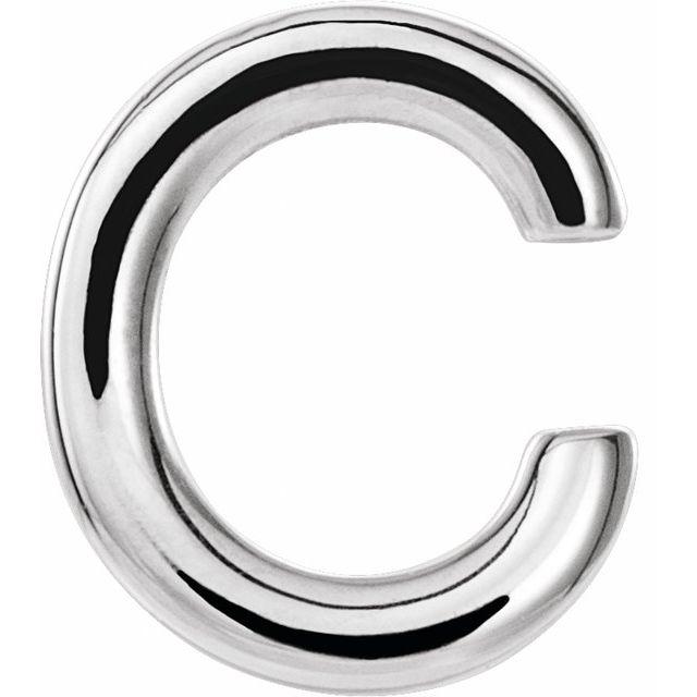 14K White Single Initial C Earring