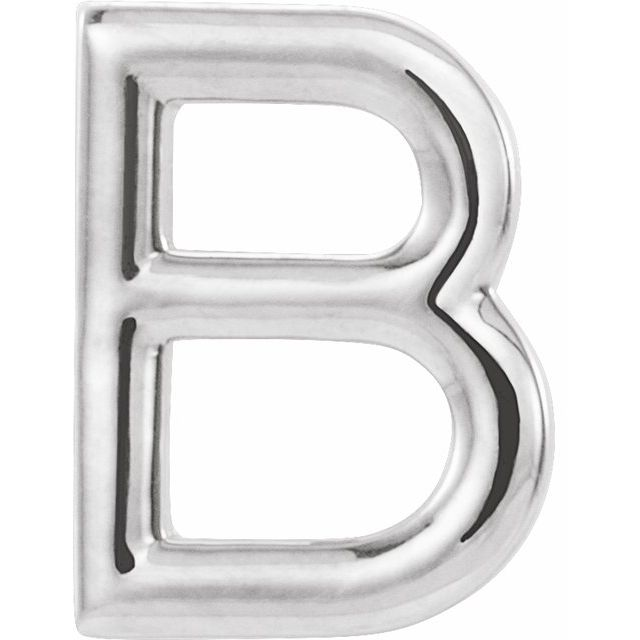 14K White Single Initial B Earring