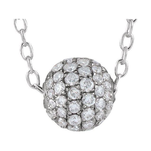 14K White 3/8 CTW Diamond Pavé 6 mm Ball 16-18