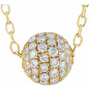 "14K Yellow 3/8 CTW Diamond Pavé 6 mm Ball 16-18"" Necklace"