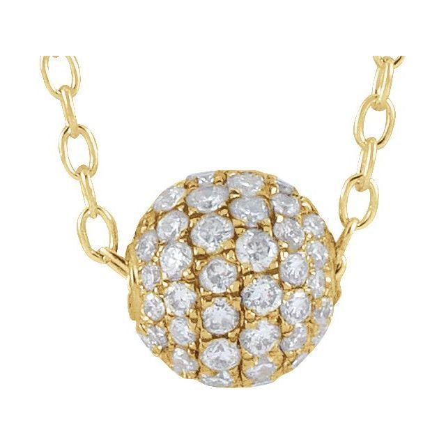 14K Yellow 3/8 CTW Diamond Pavé 6 mm Ball 16-18