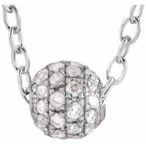 "14K White 1/8 CTW Diamond Pavé 3 mm Ball 16-18"" Necklace"
