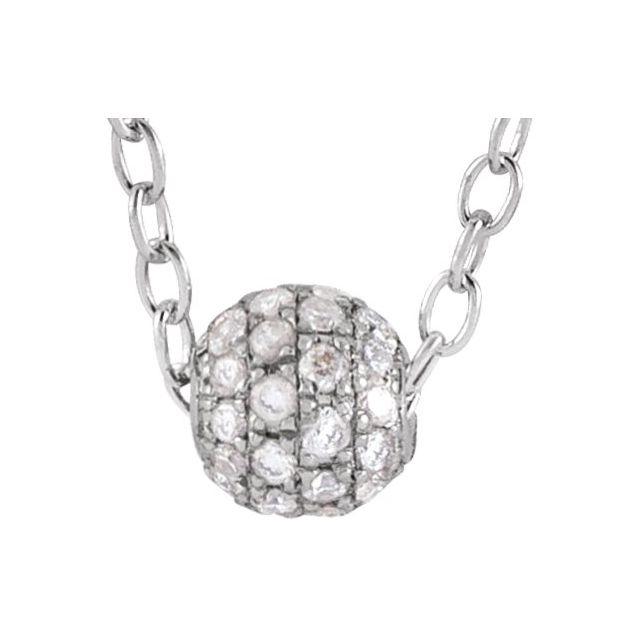 14K White 1/8 CTW Diamond Pavé 3 mm Ball 16-18