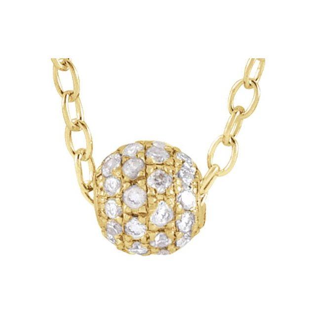 14K Yellow 1/8 CTW Diamond Pavé 3 mm Ball 16-18