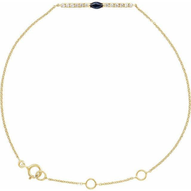 "14K Yellow Blue Sapphire & .06 CTW Diamond Bar 5-7"" Bracelet"