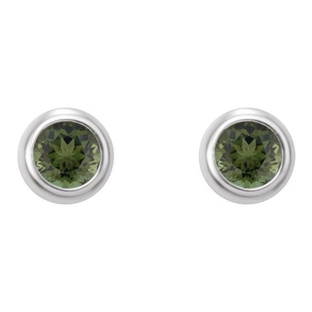 14K White 2 mm Round Green Tourmaline Micro Stud Earrings