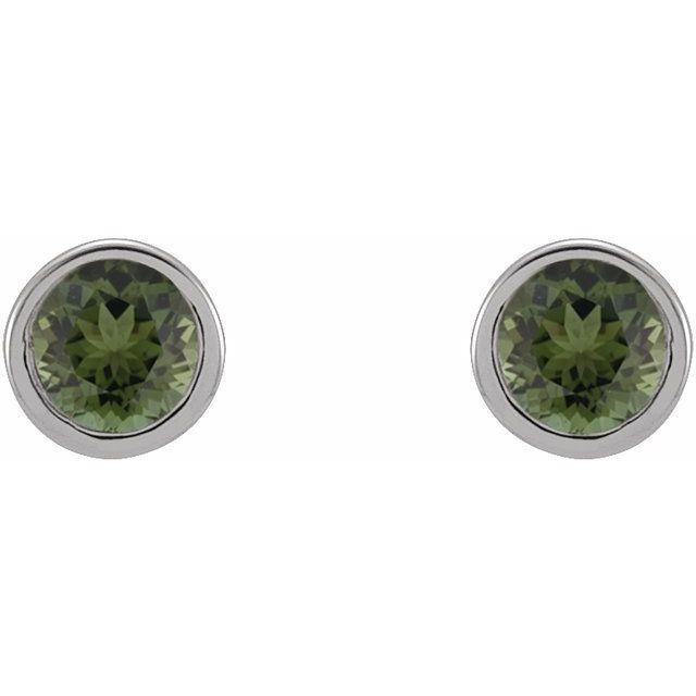 14K White 2.5 mm Round Green Tourmaline Micro Stud Earrings
