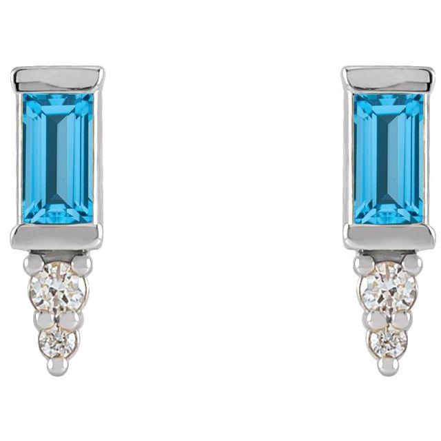 14K White Swiss Blue Topaz & .04 CTW Diamond Bar Earrings