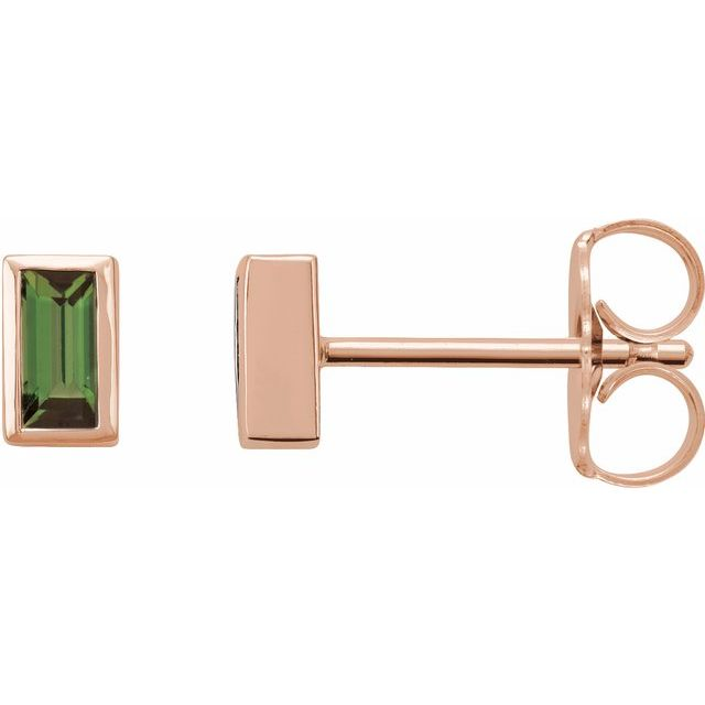 14K Rose Green Tourmaline Bezel-Set Earrings