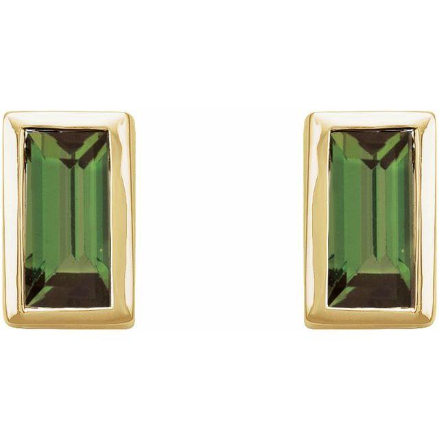 14K Yellow Green Tourmaline Bezel-Set Earrings