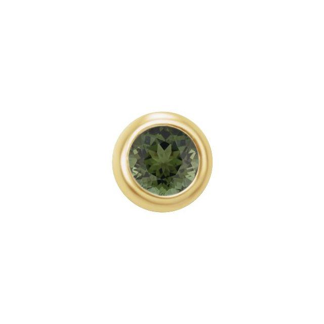 14K Yellow 2 mm Round Green Tourmaline Single Micro Stud Earring