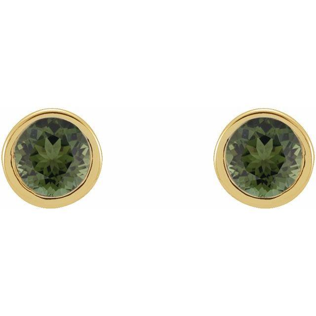 14K Yellow 2.5 mm Round Natural Green Tourmaline Micro Bezel-Set Earrings