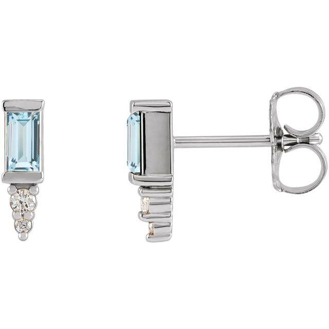 14K White Sky Blue Topaz & .03 CTW Diamond Bar Earrings