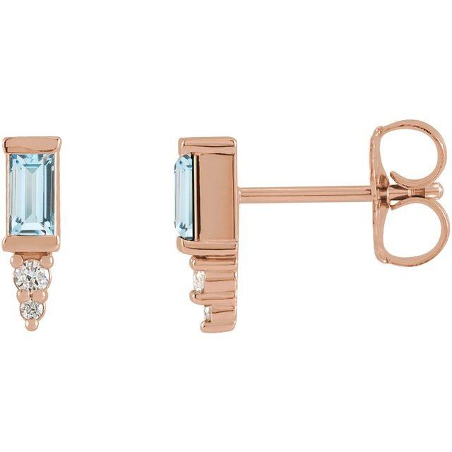 14K Rose Sky Blue Topaz & .04 CTW Diamond Bar Earrings