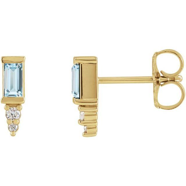 14K Yellow Sky Blue Topaz & .03 CTW Diamond Bar Earrings