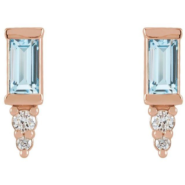 14K Rose Sky Blue Topaz & .03 CTW Diamond Bar Earrings