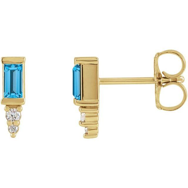 14K Yellow Swiss Blue Topaz & .03 CTW Diamond Bar Earrings