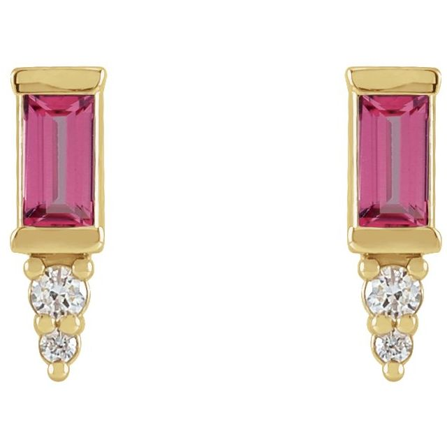 14K Yellow Pink Tourmaline & .03 CTW Diamond Bar Earrings