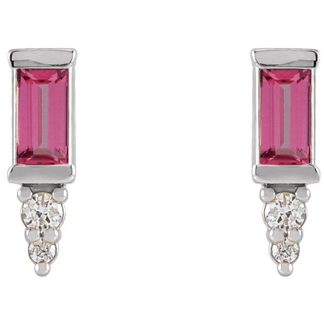 14K White Pink Tourmaline & .04 CTW Diamond Bar Earrings