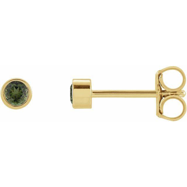 14K Yellow 2 mm Round Green Tourmaline Micro Stud Earrings