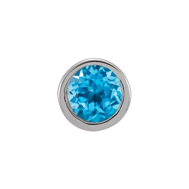 14K White 2.5 mm Round Natural Swiss Blue Topaz Micro Bezel Single Stud Earring