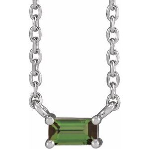 "Sterling Silver Green Tourmaline Solitaire 18"" Necklace"
