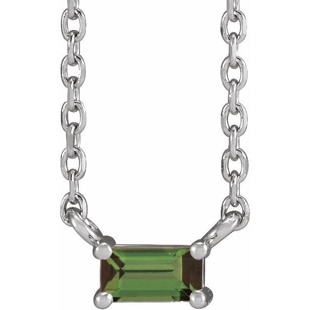 Sterling Silver Green Tourmaline Solitaire 18