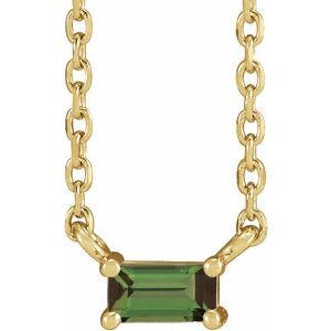 """14K Yellow Green Tourmaline Solitaire 18"""" Necklace"""