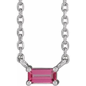 """14K White Pink Tourmaline Solitaire 18"""" Necklace"""