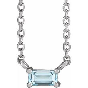 "14K White Sky Blue Topaz Solitaire 18"" Necklace"