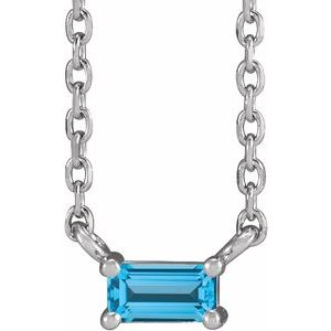 "14K White Swiss Blue Topaz Solitaire 18"" Necklace"
