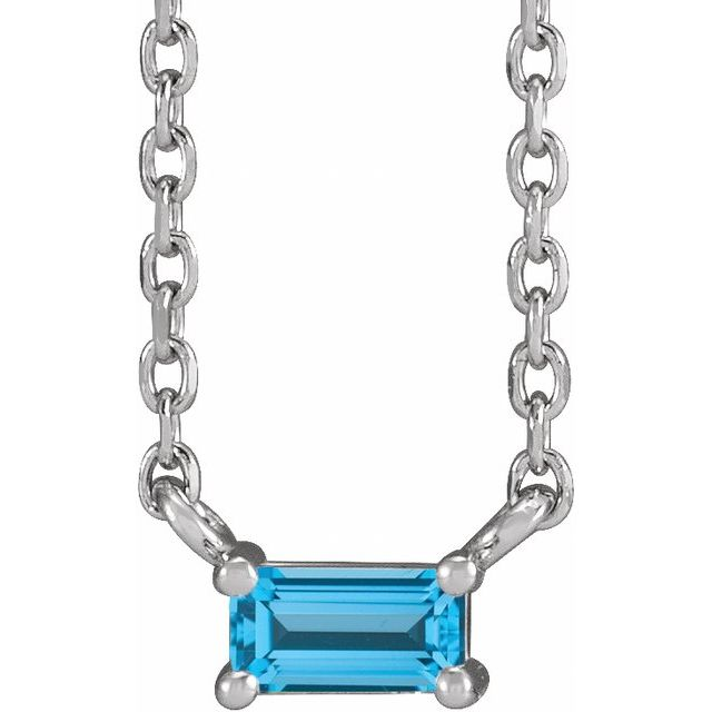 Sterling Silver Natural Swiss Blue Topaz Solitaire 18