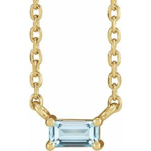 """14K Yellow Sky Blue Topaz Solitaire 18"""" Necklace"""