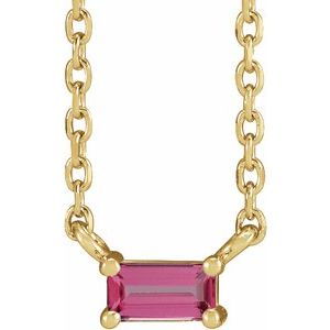 "14K Yellow Pink Tourmaline Solitaire 18"" Necklace"
