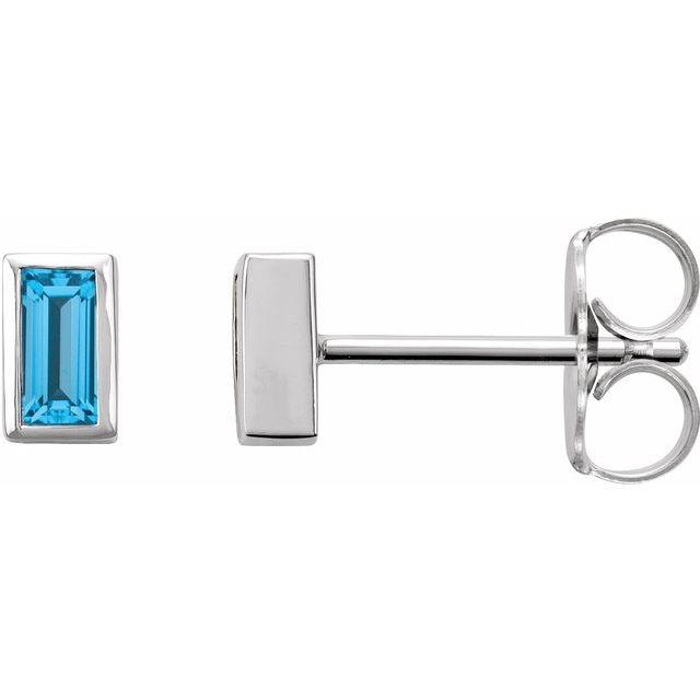 14K White Swiss Blue Topaz Bezel-Set Earrings