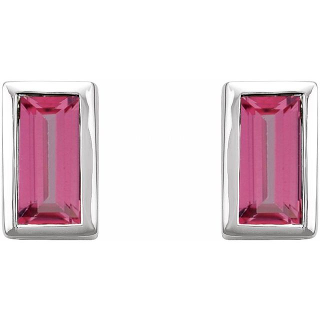 14K White Pink Tourmaline Bezel-Set Earrings
