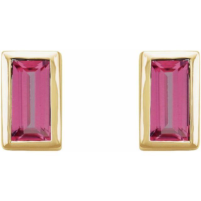 14K Yellow Pink Tourmaline Bezel-Set Earrings
