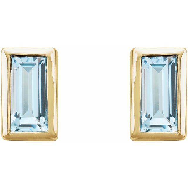 14K Yellow Sky Blue Topaz Bezel-Set Earrings