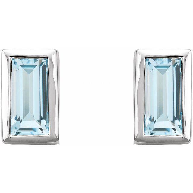 14K White Sky Blue Topaz Bezel-Set Earrings