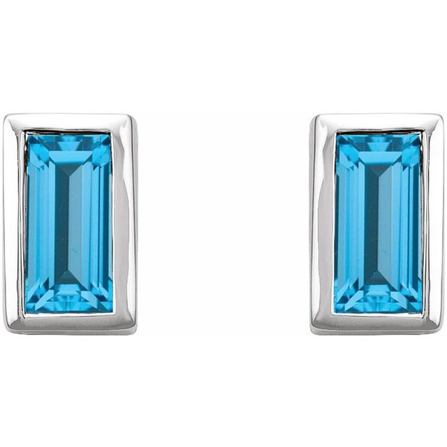 14K White Swiss Blue Topaz Bezel-Set Earrings