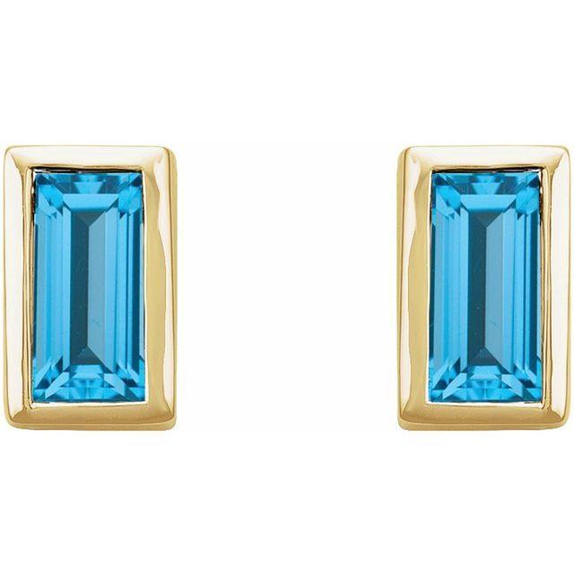 14K Yellow Swiss Blue Topaz Bezel-Set Earrings