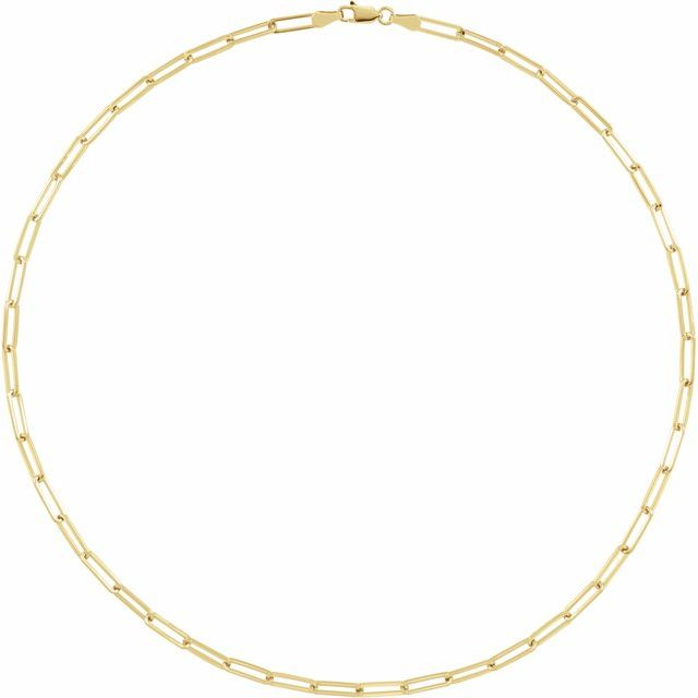 18K Yellow Gold-Plated Sterling Silver 3.85 mm Elongated Flat Link 20