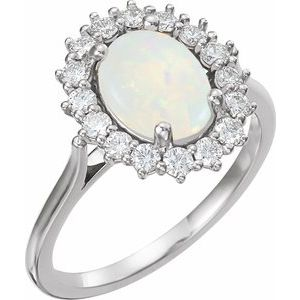 14K White Opal & 1/2 CTW Diamond Ring