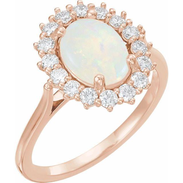 14K Rose Opal & 3/8 CTW Diamond Ring