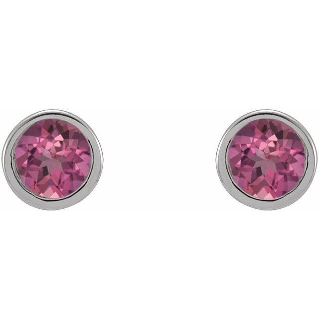 14K White 2.5 mm Round Pink Tourmaline Micro Bezel-Set Earrings
