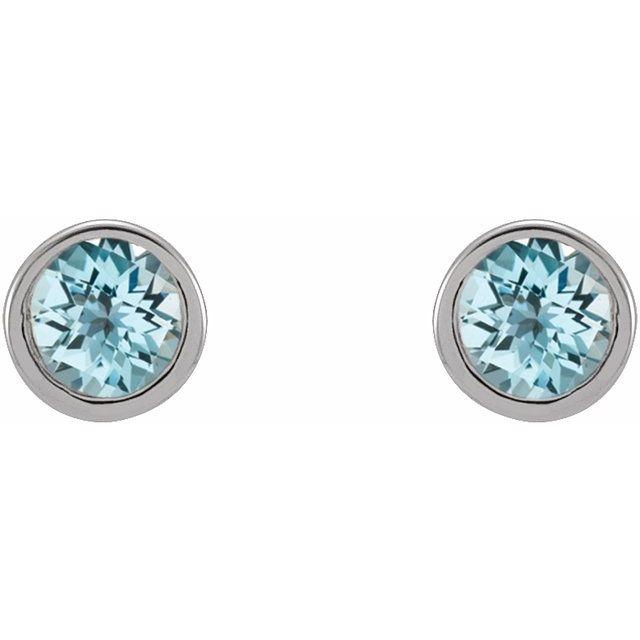 14K White 2.5 mm Round Natural Sky Blue Topaz Micro Bezel-Set Earrings