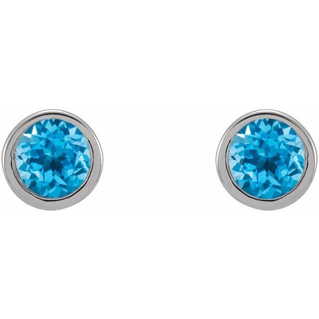 14K White 2.5 mm Round Swiss Blue Topaz Micro Stud Earrings