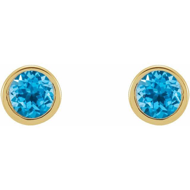 14K Yellow 2 mm Round Swiss Blue Topaz Micro Bezel-Set Earrings